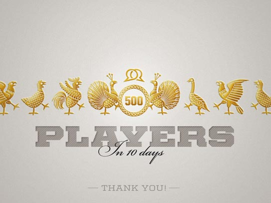 Twenity Launch 500 Players Thank You